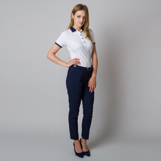Women's polo shirt in white color with smooth pattern 11945