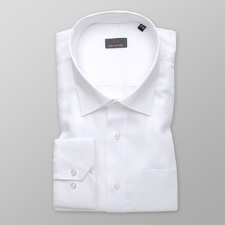 Men's white shirt classic with smooth pattern 11982, Willsoor