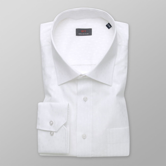 Men's white shirt classic with delicate pattern 11983, Willsoor
