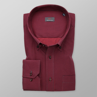 Men's red shirt classic with polka-dot pattern 11986, Willsoor
