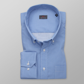 Men's blue shirt classic with polka-dot pattern 11989, Willsoor