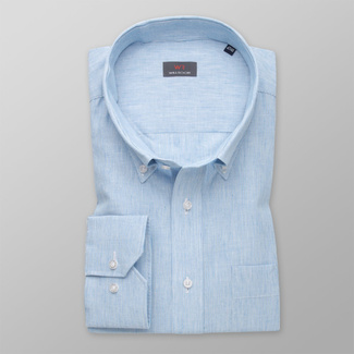 Men's light blue shirt classic with delicate pattern 11990, Willsoor