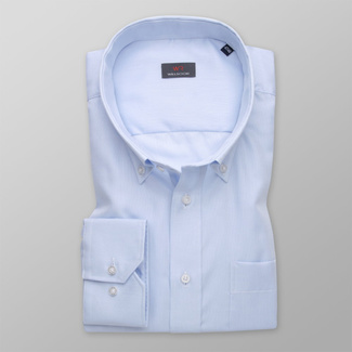 Men's pale blue shirt classic with fine pattern 11991, Willsoor