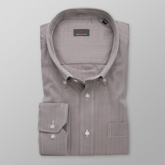 Men's brown shirt classic with delicate pattern 11992, Willsoor