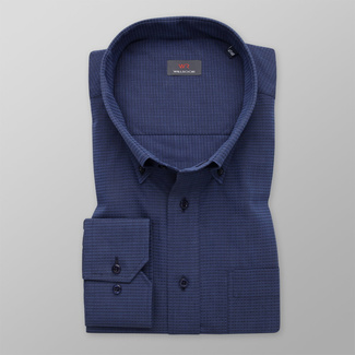 Men's dark blue shirt classic with delicate pattern 11993, Willsoor