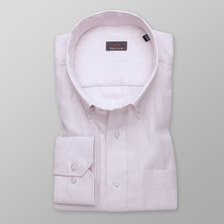 Men's light pink shirt classic with delicate pattern 11995, Willsoor