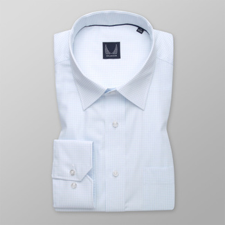 Men's light blue shirt classic with delicate pattern 11996, Willsoor