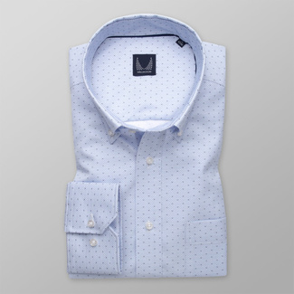 Men's light blue shirt classic with pattern 11998, Willsoor