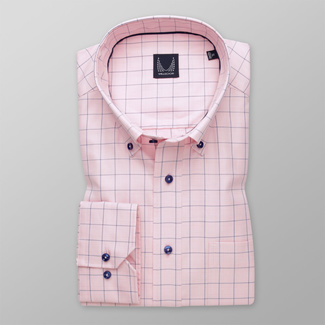 Men's pink shirt classic with checkered pattern 11999, Willsoor
