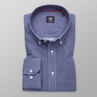 Men's dark blue shirt classic with delicate pattern 12000, Willsoor
