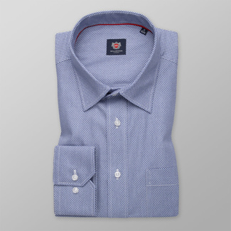 Men's blue shirt classic with checkered pattern 12001, Willsoor