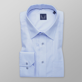 Men's light blue shirt classic with delicate pattern 12002, Willsoor