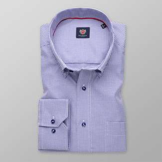 Men's shirt classic with blue checkered pattern 12003, Willsoor