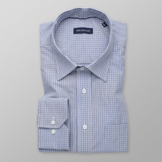 Men's blue shirt classic with checkered pattern 12004, Willsoor