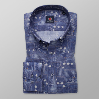 Men's shirt Slim Fit with denim pattern and print with stars 12005, Willsoor
