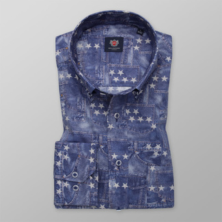Men's shirt classic with denim pattern and print with stars 12006, Willsoor