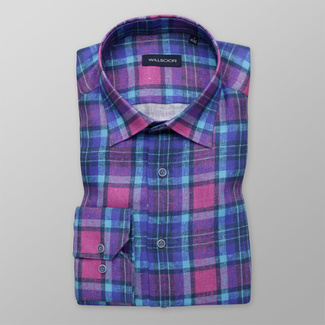 Men's shirt Slim Fit with blue and purple pattern 12008, Willsoor