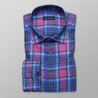 Men's shirt classic with blue and purple pattern 12009, Willsoor