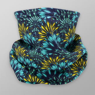 Multi-purpose scarf with turquoise and yellow floral pattern 12020, Willsoor