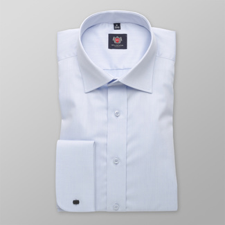 Men's light blue shirt Slim Fit with smooth pattern 12043, Willsoor