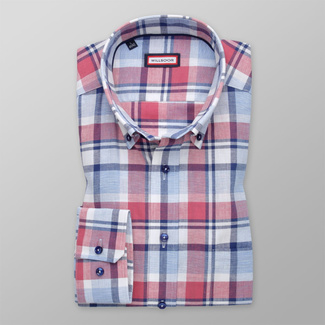 Men's shirt Slim Fit with red and blue pattern 12045, Willsoor