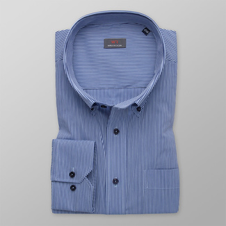 Men's shirt classic with dark blue striped pattern 12046, Willsoor