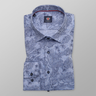 Men's Slim Fit shirt of a light blue color with a flower pattern 12059