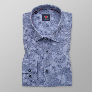 Men's light blue shirt with flower pattern 12060, Willsoor