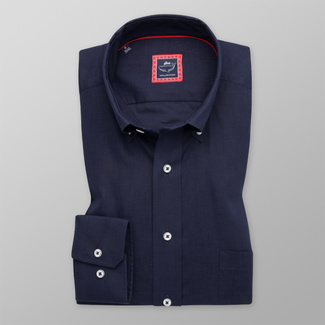 Men's dark blue shirt Slim Fit with smooth pattern 12064, Willsoor