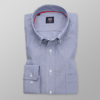 Men's classic shirt with blue-white striped pattern 12067