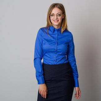 Women's blue shirt with a smooth pattern 12083