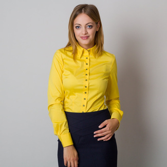 Women's yellow shirt with a smooth pattern 12087
