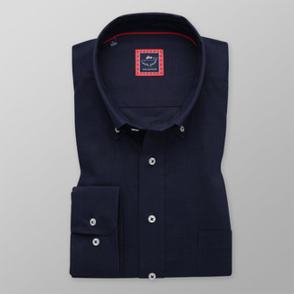 Men's classic dark blue shirt with smooth pattern 12090, Willsoor