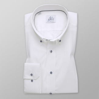 Men's Slim Fit white shirt with fine striped pattern 12091, Willsoor