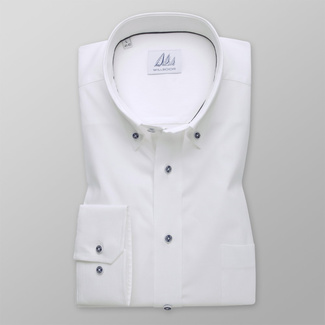 Men's shirt classic white with fine striped pattern 12092, Willsoor