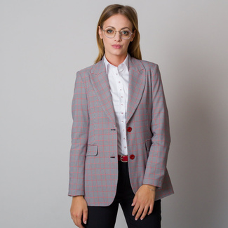 Women's suit jacket with fine black and white pattern 12095, Willsoor