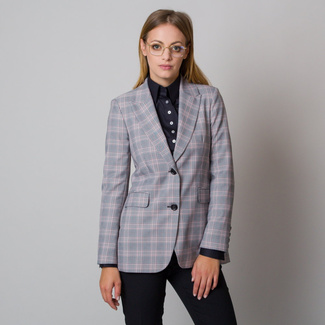 Women's suit jacket with light pink checkered pattern 12096, Willsoor