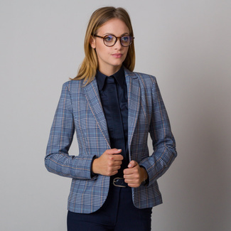 Women's suit jacket blue with yellow checkered pattern 12099, Willsoor
