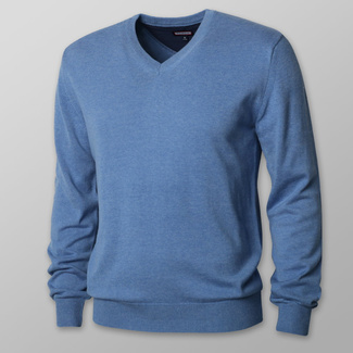 Men's sweater in light blue with smooth pattern 12126
