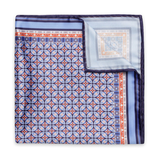 Handkerchief to pocket with light blue with geometric pattern 12134