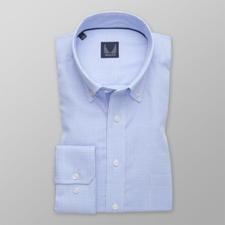 Men's classic light blue shirt with checkered pattern 12146