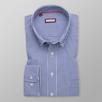 Men's classic shirt with blue checkered pattern 12149, Willsoor