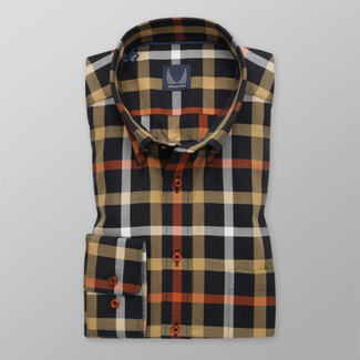 Men's Slim Fit black shirt with checkered pattern 12153, Willsoor