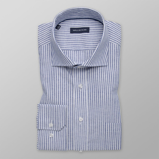 Men's classic shirt with blue striped pattern 12162