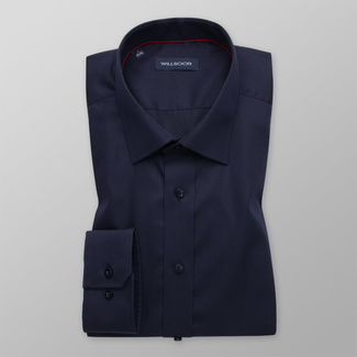 Men's Slim Fit dark blue shirt with smooth pattern 12166