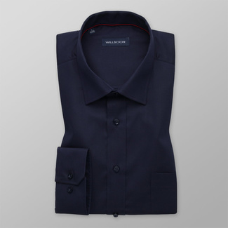 Men's classic dark blue shirt with smooth pattern 12167