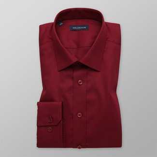 Men's Slim Fit dark red shirt with smooth pattern 12168