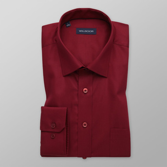 Men's classic dark red shirt with smooth pattern 12169