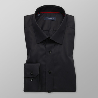 Men's Slim Fit black shirt with smooth pattern 12170