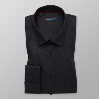 Men's classic black shirt with smooth pattern 12171